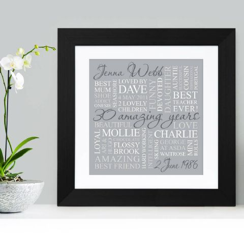 Personalised 30th Birthday Square Word Art